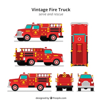Feuerwehrauto aus verschiedenen blickwinkeln