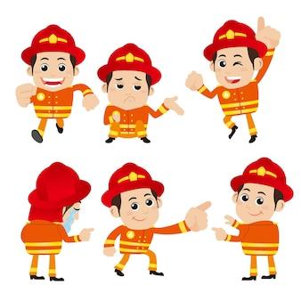 Feuerwehrfiguren in verschiedenen posen