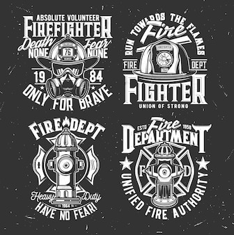 Feuerwehrhelm, maske und hydranten-t-shirt-aufdruck