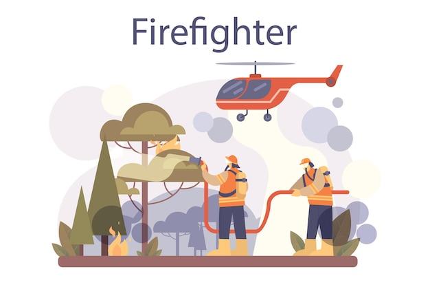 Feuerwehrkonzept. berufsfeuerwehr, die mit flamme kämpft. charakter, der einen helm und eine uniform trägt, die einen hydrantenschlauch hält, ein lauffeuer oder ein hausfeuer wässert. flache vektorillustration