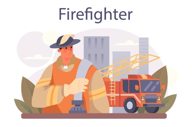 Feuerwehrkonzept. berufsfeuerwehr, die mit flamme kämpft. flache vektorillustration
