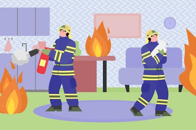 Feuerwehrleute, die feuer im haus, flachen karikaturillustrationshintergrund bekämpfen