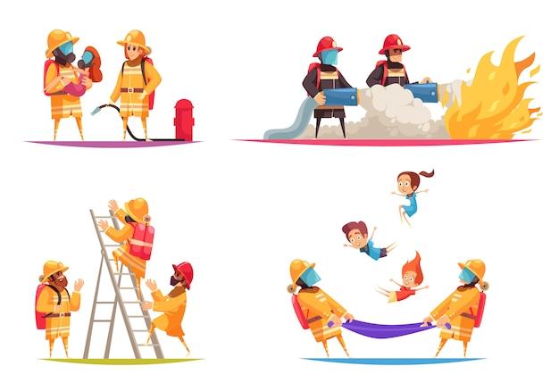 Feuerwehrleute flaches design-konzept