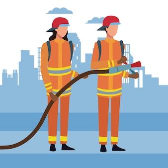Feuerwehrleute in der stadt