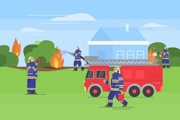 Feuerwehrleute löschen ein feuer im freien. feuerwehrmänner in uniform verwenden feuerlöscher und wasser aus schlauch und eimer, um das feuer um das haus herum zu löschen.