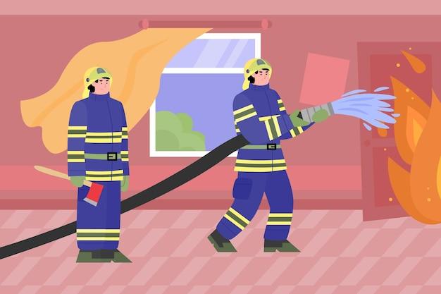 Feuerwehrleute löschen ein feuer in einer gebäudekarikatur-vektorillustration