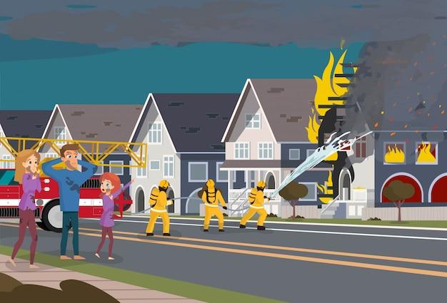 Feuerwehrleute löschen haus aus