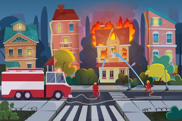 Feuerwehrleute mit motorfeuerwehrauto löschen zivilhaus in der stadt