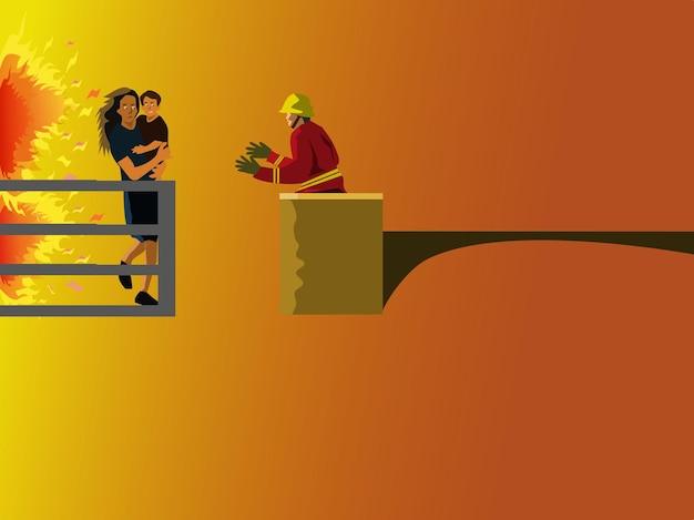 Feuerwehrleute retten mutter und kind auf einem balkon in einem brennenden gebäude mit gelbem hintergrund.