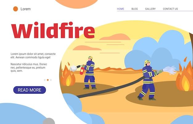 Feuerwehrmänner, die wildes feuer mit wasser und feuerlöscher löschen