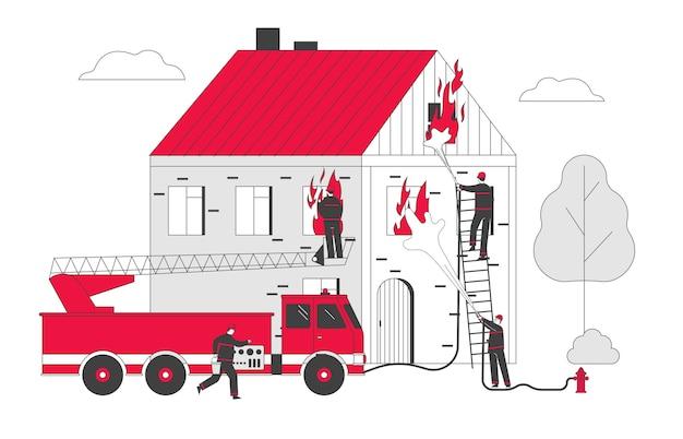 Feuerwehrmänner kämpfen mit blaze arbeiten als team, um im burning house mit großem feuer zu kämpfen