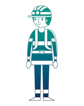 Feuerwehrmann-avatara-charakterikonen-vektorillustrationsdesign