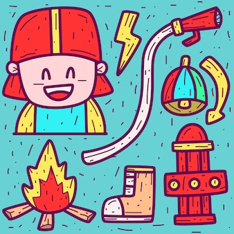 Feuerwehrmann cartoon doodle