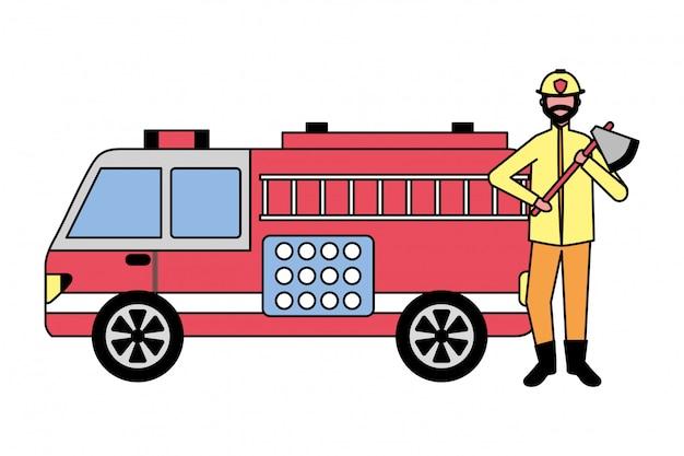 Feuerwehrmann, der axt und löschfahrzeug hält