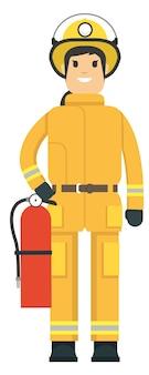 Feuerwehrmann, der einen feuerlöscher anhält
