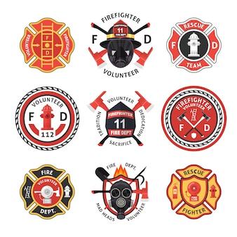 Feuerwehrmann-etiketten-set Premium Vektoren