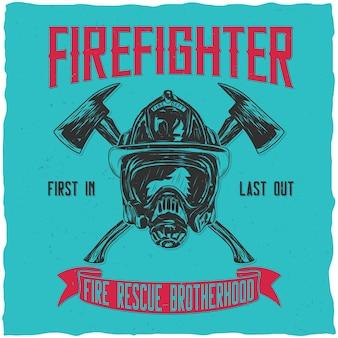 Feuerwehrmann-etikettendesign mit illustration des helms mit gekreuzten achsen