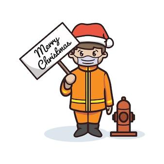 Feuerwehrmann feiert weihnachten in der pandemie