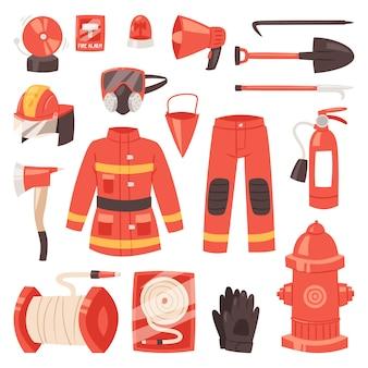Feuerwehrmann feuerwehrausrüstung feuerwehrschlauch hydrant und feuerlöscher illustration satz feuerwehrmann uniform mit helm auf weißem hintergrund isoliert