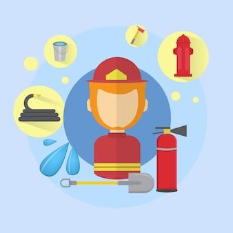 Feuerwehrmann-feuerwehrmann-arbeitskraft-ikonen-flache vektor-illustration
