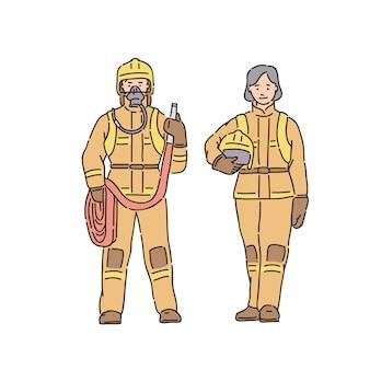 Feuerwehrmann frau und mann im professionellen schutzanzug. illustration im strichgrafikstil auf weiß