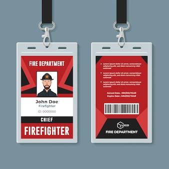 Feuerwehrmann id-karte design-vorlage