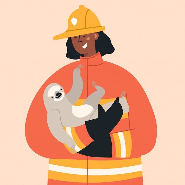 Feuerwehrmann im brandbekämpfungseinsatz.