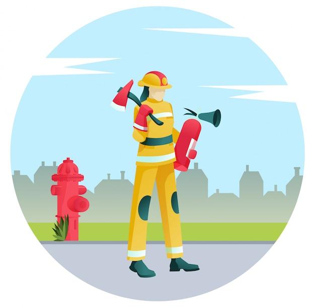 Feuerwehrmann in uniform mit feuerlöschausrüstung