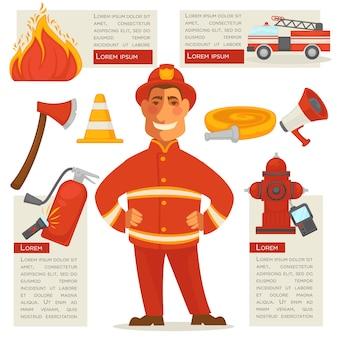 Feuerwehrmann isoliert und besondere objekte herum