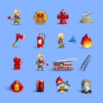 Feuerwehrmann-karikatur-ikonen-rot-blau-satz