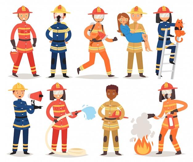Feuerwehrmann-karikaturfeuerwehrmanncharakter, der feuer mit feuerwehrschlauch hydrant und feuerlöscherausrüstung illustrationssatz von mann oder frau im helm auf weißem hintergrund feuert
