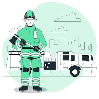 Feuerwehrmann-konzeptillustration