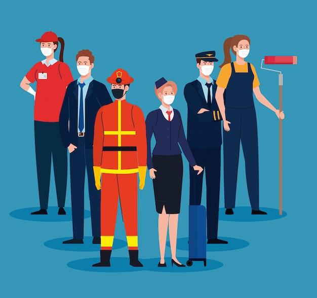 Feuerwehrmann mit arbeitergruppe, arbeiter, die medizinische maske gegen coronavirus tragen