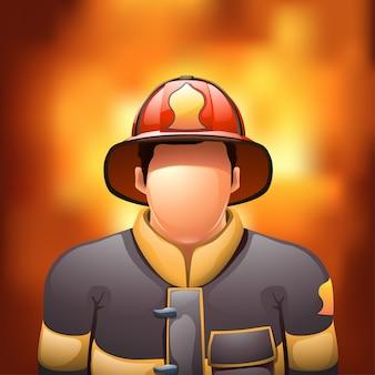 Feuerwehrmann mit feuer