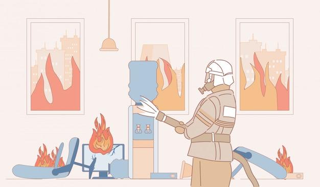 Feuerwehrmann mit feuerlöscher löscht feuer in bürokarikatur-umrissillustration. feuerwehrmann im brennenden raum.