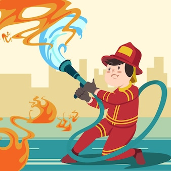 Feuerwehrmann mit flachem design, der ein feuer löscht