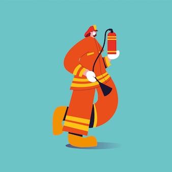 Feuerwehrmann mit gesichtsmaske und uniform