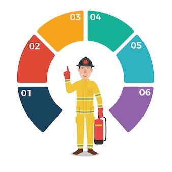 Feuerwehrmann mit infographic schablone des leeren kreises