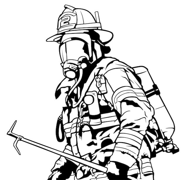 Feuerwehrmann mit maske, die dachhaken in der hand hält