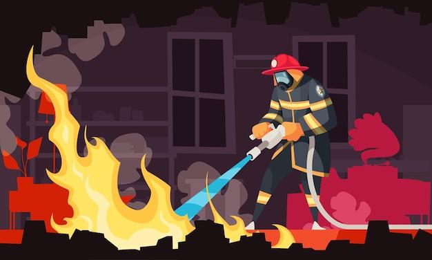 Feuerwehrmann mit maske und helm löscht feuer mit schlauch in rauchgefüllter zimmerkarikaturillustration