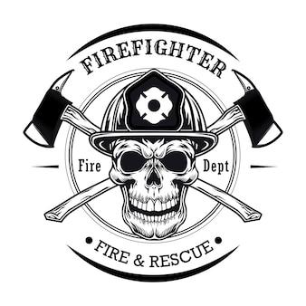 Feuerwehrmann mit schädelvektorillustration. charakterkopf im helm mit gekreuzten äxten