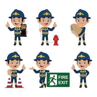 Feuerwehrmann mit verschiedenen posen