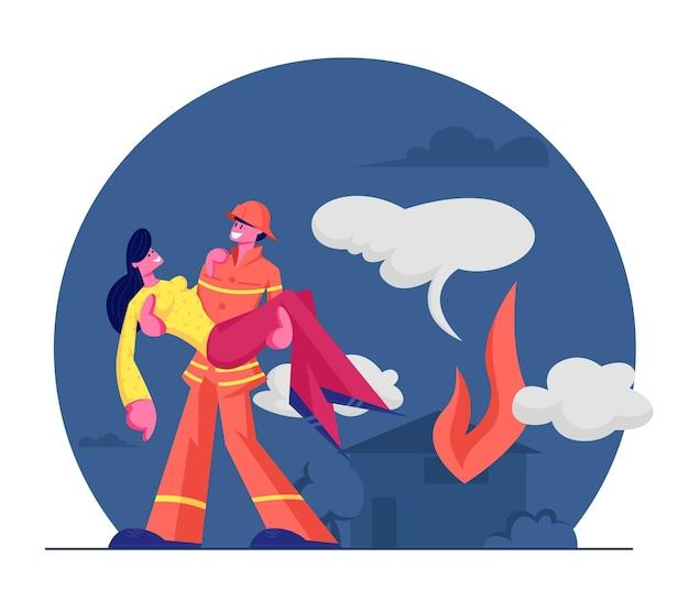 Feuerwehrmann rettet mädchen vor feuer. starker feuerwehrmann in schutzkostüm und helm, der frau auf händen hält, tragen aus brennendem haus heraus. karikatur flache illustration