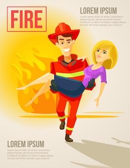 Feuerwehrmann trägt mädchen. vektor flache illustration