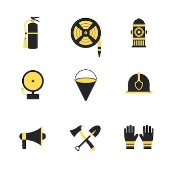 Feuerwehrmann und notfall rettungs icons set vektor-illustration für handy, web und anwendungen.