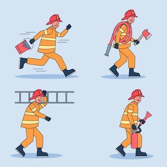 Feuerwehrmann-zeichensatz
