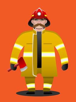 Feuerwehrmannbereitschaft, die eine axtkarikatur hält