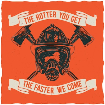 Feuerwehrmannplakat mit inspirierendem zitat