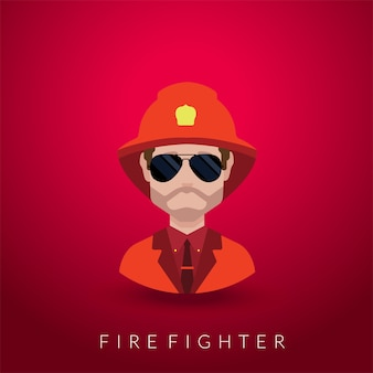 Feuerwehrmannporträt lokalisiert auf rot