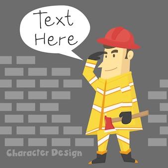 Feuerwehrmannzeichentrickfilm-figurdesign tragen die feueraxt